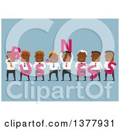Clipart Of A Flat Design Group Of Black Men Holding BUSINESS Letters On Blue Royalty Free Vector Illustration by Vector Tradition SM