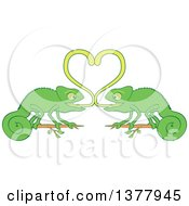 Clipart Of A Romantic Valentine Chameleon Pair Forming A Heart With Their Sticky Tongues Royalty Free Vector Illustration