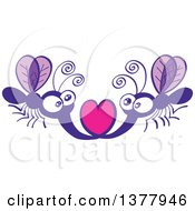 Clipart Of A Romantic Valentine Mosquito Couple Forming A Heart With Their Stingers Royalty Free Vector Illustration by Zooco