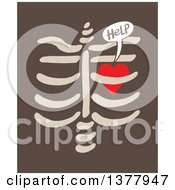 Clipart Of A Heart Imprisoned Within Ribs Begging For Help Over Brown Royalty Free Vector Illustration