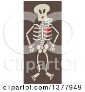 Clipart Of A Heart Imprisoned Within A Skeleton Begging For Help Over Brown Royalty Free Vector Illustration
