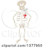 Clipart Of A Heart Imprisoned Within A Skeleton Begging For Help Royalty Free Vector Illustration by Zooco