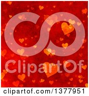 Clipart Of A Red Grunge Bacground Of Valentine Hearts Royalty Free Illustration by KJ Pargeter