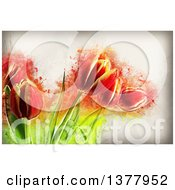 Clipart Of Painted Tulips Over Grunge Royalty Free Illustration by KJ Pargeter