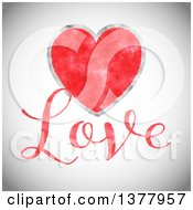 Clipart Of Red Watercolor Heart With Love Text Over Gray Royalty Free Vector Illustration