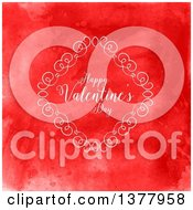 Clipart Of A Diamond Swirl Frame With Happy Valentines Day Text Over Red Watercolor Royalty Free Vector Illustration