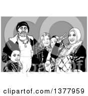 Clipart Of A Black And White Posing Immigrant Family Over Gray Royalty Free Vector Illustration