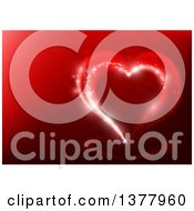 Clipart Of A Background Of A Magical Valentine Love Heart On Red Royalty Free Vector Illustration by dero