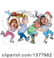 Clipart Of A Dancing Line Of Mardi Gras People Having A Blast And Carrying Hot Bbq Food Royalty Free Vector Illustration by LaffToon