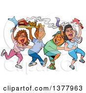 Clipart Of A Dancing Line Of Mardi Gras Couples Having A Blast And Carrying Hot Bbq Food Royalty Free Vector Illustration by LaffToon