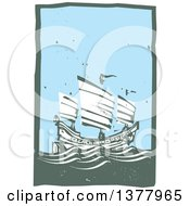 Clipart Of A Woodcut Chinese Junk Ship At Sea During The Day Royalty Free Vector Illustration by xunantunich