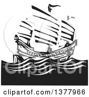 Clipart Of A Black And White Woodcut Chinese Junk Ship At Sea Royalty Free Vector Illustration by xunantunich
