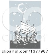 Clipart Of A Woodcut Chinese Junk Ship At Sea Under A Night Sky Royalty Free Vector Illustration by xunantunich