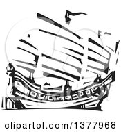 Clipart Of A Black And White Woodcut Chinese Junk Ship Royalty Free Vector Illustration