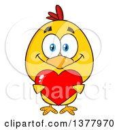Clipart Of A Yellow Chick Holding A Valentine Heart Royalty Free Vector Illustration