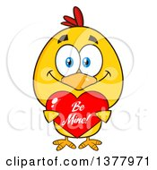 Clipart Of A Yellow Chick Holding A Be Mine Valentine Heart Royalty Free Vector Illustration