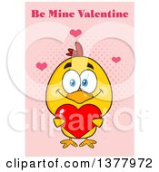 Clipart Of A Yellow Chick Holding A Heart Under Be Mine Valentine Text On Pink Royalty Free Vector Illustration