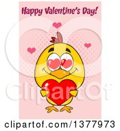 Clipart Of A Yellow Chick Holding A Heart Under Happy Valentines Day Text On Pink Royalty Free Vector Illustration