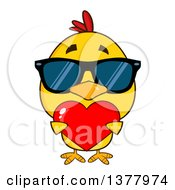 Clipart Of A Yellow Chick Wearing Sunglasses And Holding A Valentine Heart Royalty Free Vector Illustration