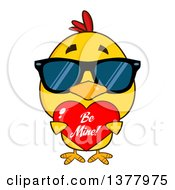 Clipart Of A Yellow Chick Wearing Sunglasses And Holding A Be Mine Valentine Heart Royalty Free Vector Illustration