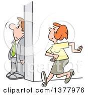 Cartoon White Businessman Hiding Behind A Wall To Avoid A Woman
