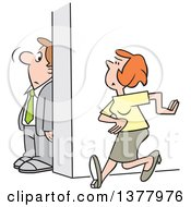 Clipart Of A Cartoon White Businessman Hiding Behind A Wall To Avoid A Woman Royalty Free Vector Illustration