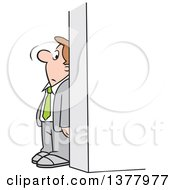 Clipart Of A Cartoon White Businessman Hiding Behind A Wall Royalty Free Vector Illustration