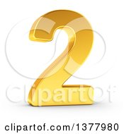 Clipart Of A 3d Golden Digit Number 2 On A Shaded White Background Royalty Free Illustration