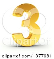 Clipart Of A 3d Golden Digit Number 3 On A Shaded White Background Royalty Free Illustration