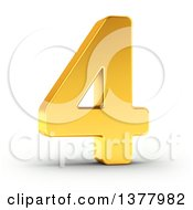 Clipart Of A 3d Golden Digit Number 4 On A Shaded White Background Royalty Free Illustration