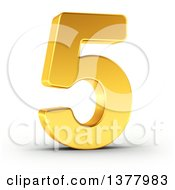 Clipart Of A 3d Golden Digit Number 5 On A Shaded White Background Royalty Free Illustration