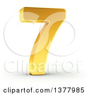 Clipart Of A 3d Golden Digit Number 7 On A Shaded White Background Royalty Free Illustration