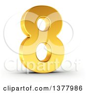 3d Golden Digit Number 8 On A Shaded White Background