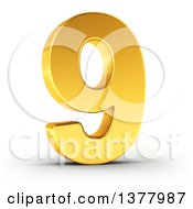 3d Golden Digit Number 9 On A Shaded White Background