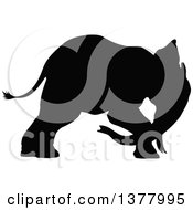 Clipart Of A Black Silhouetted Elephant Royalty Free Vector Illustration