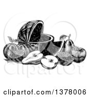 Clipart Of A Vintage Black And White Woodcut Still Life Of Fruit Royalty Free Vector Illustration by AtStockIllustration