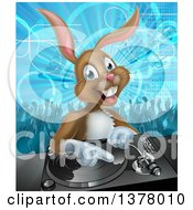 Clipart Of A Happy Brown Bunny Rabbit Dj Over A Turntable Against A Dance Floor Royalty Free Vector Illustration
