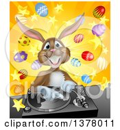Happy Brown Easter Bunny Rabbit Dj Over A Turntable Against A Burst Of Objects