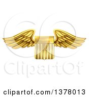 Shiny Winged Gold Metal United States Flag Shield