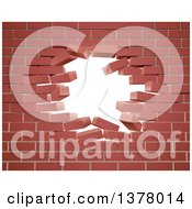 Clipart Of A Breaking Brick Wall With A Hole Royalty Free Vector Illustration