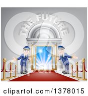 Clipart Of A VIP Venue Entrance With Welcoming Friendly Doormen Red Carpet Posts And The Future Text Royalty Free Vector Illustration by AtStockIllustration