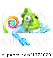 Clipart Of A Happy Rainbow Chameleon Lizard Waving Or Presenting And Pointing Down Over A Sign Royalty Free Vector Illustration