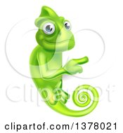 Clipart Of A Happy Green Chameleon Lizard Pointing Around A Sign Royalty Free Vector Illustration by AtStockIllustration