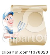 Clipart Of A Happy Middle Aged Brunette White Male Gardener In Blue Holding A Garden Fork Around A Scroll Sign Royalty Free Vector Illustration