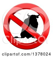 Clipart Of A No Bull Black Silhouetted Bovine In A Shiny Red Prohibited Symbol Royalty Free Vector Illustration