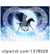 Clipart Of A Black Silhouetted Winged Pegasus Horse Flying In Front Of A Full Moon Royalty Free Vector Illustration
