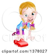Clipart Of A Happy White Girl Playing With A Toy Car Royalty Free Vector Illustration by AtStockIllustration
