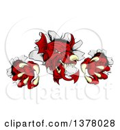 Clipart Of A Fierce Red Welsh Dragon Mascot Breaking Through A Wall Royalty Free Vector Illustration by AtStockIllustration