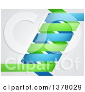 Clipart Of A Blue And Green Dna Double Helix Over Gray Royalty Free Vector Illustration by AtStockIllustration
