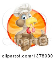 Poster, Art Print Of Happy Brown Chef Chicken Giving A Thumb Up And Emerging From A Circle Of Sun Rays